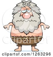 Clipart Of A Cartoon Sad Depressed Chubby Hermit Man Royalty Free Vector Illustration
