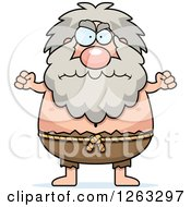 Clipart Of A Cartoon Mad Chubby Hermit Man Holding Up Fists Royalty Free Vector Illustration