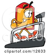 Clipart Picture Of A Price Tag Mascot Cartoon Character Walking On A Treadmill In A Fitness Gym by Toons4Biz