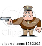Clipart Of A Caucasian Male Pilot Captain Aiming A Gun Royalty Free Vector Illustration