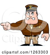 Clipart Of A Caucasian Male Pilot Captain Pointing Royalty Free Vector Illustration