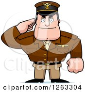 Clipart Of A Caucasian Male Pilot Captain Saluting Royalty Free Vector Illustration