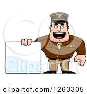 Clipart Of A Caucasian Male Pilot Captain With A Blank Sign Royalty Free Vector Illustration