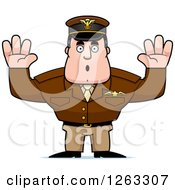 Clipart Of A Caucasian Male Pilot Captain Surrendering Royalty Free Vector Illustration