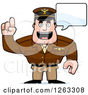 Clipart Of A Caucasian Male Pilot Captain Talking Royalty Free Vector Illustration