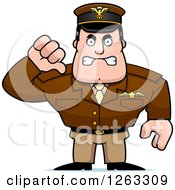 Clipart Of A Mad Caucasian Male Pilot Captain Holding A Thumb Down Royalty Free Vector Illustration