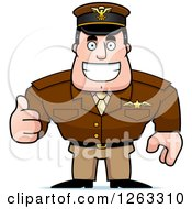 Clipart Of A Happy Caucasian Male Pilot Captain Holding A Thumb Up Royalty Free Vector Illustration by Cory Thoman