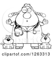 Clipart Of A Black And White Cartoon Careless Shrugging Chubby Female Veterinarian With A Cat And Dog Royalty Free Vector Illustration