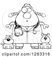 Clipart Of A Black And White Cartoon Surprised Chubby Female Veterinarian With A Cat And Dog Royalty Free Vector Illustration