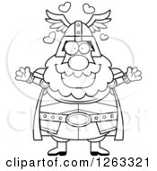 Clipart Of A Black And White Cartoon Loving Chubby Thor With Open Arms And Hearts Royalty Free Vector Illustration by Cory Thoman