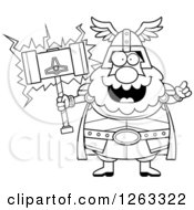Clipart Of A Black And White Cartoon Smart Chubby Thor Holding A Hammer Royalty Free Vector Illustration
