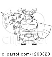 Clipart Of A Black And White Cartoon Mad Chubby Thor Holding A Hammer And Shield Royalty Free Vector Illustration