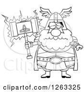 Clipart Of A Black And White Cartoon Sad Depressed Chubby Thor Holding A Hammer Royalty Free Vector Illustration