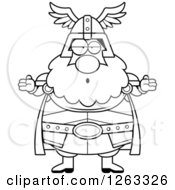 Clipart Of A Black And White Cartoon Careless Shrugging Chubby Thor Royalty Free Vector Illustration by Cory Thoman