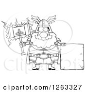 Clipart Of A Black And White Cartoon Happy Chubby Thor Holding A Hammer By A Stone Sign Royalty Free Vector Illustration