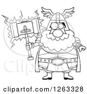 Clipart Of A Black And White Cartoon Happy Chubby Thor Holding A Hammer Royalty Free Vector Illustration