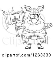 Clipart Of A Black And White Cartoon Friendly Waving Chubby Thor Holding A Hammer Royalty Free Vector Illustration by Cory Thoman