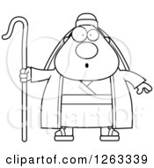 Clipart Of A Black And White Cartoon Surprised Chubby Male Shepherd Royalty Free Vector Illustration