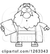 Clipart Of A Black And White Cartoon Surprised Chubby Moses Holding A Tablet Royalty Free Vector Illustration by Cory Thoman