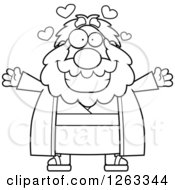 Clipart Of A Black And White Cartoon Loving Chubby Moses With Open Arms And Hearts Royalty Free Vector Illustration by Cory Thoman