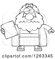 Clipart Of A Black And White Cartoon Sad Depressed Chubby Moses Holding A Tablet Royalty Free Vector Illustration by Cory Thoman
