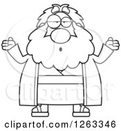 Clipart Of A Black And White Cartoon Careless Shrugging Chubby Moses Royalty Free Vector Illustration