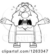 Clipart Of A Black And White Cartoon Scared Screaming Chubby Moses Royalty Free Vector Illustration by Cory Thoman