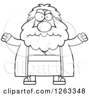 Clipart Of A Black And White Cartoon Mad Chubby Moses Holding His Fsts Up Royalty Free Vector Illustration by Cory Thoman