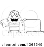Clipart Of A Black And White Cartoon Happy Chubby Moses Holding A Tablet And Scroll Royalty Free Vector Illustration by Cory Thoman
