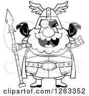 Clipart Of A Black And White Cartoon Smart Chubby Odin With An Idea Royalty Free Vector Illustration by Cory Thoman