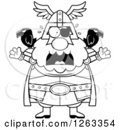 Clipart Of A Black And White Cartoon Scared Screaming Chubby Odin Royalty Free Vector Illustration by Cory Thoman