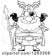 Clipart Of A Black And White Cartoon Happy Chubby Odin Royalty Free Vector Illustration by Cory Thoman
