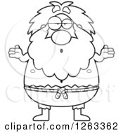 Clipart Of A Black And White Cartoon Careless Shrugging Chubby Hermit Man Royalty Free Vector Illustration