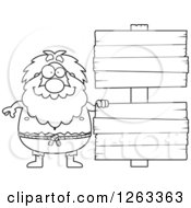 Clipart Of A Black And White Cartoon Chubby Hermit Man With Wooden Signs Royalty Free Vector Illustration