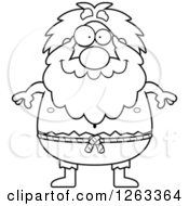 Clipart Of A Black And White Cartoon Happy Chubby Hermit Man Royalty Free Vector Illustration