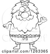 Clipart Of A Black And White Cartoon Friendly Waving Chubby Hermit Man Royalty Free Vector Illustration