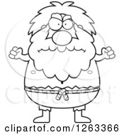 Clipart Of A Black And White Cartoon Mad Chubby Hermit Man Holding Up Fists Royalty Free Vector Illustration
