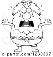 Clipart Of A Black And White Cartoon Scared Chubby Hermit Man Royalty Free Vector Illustration