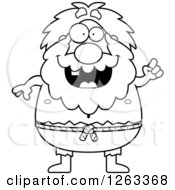 Clipart Of A Black And White Cartoon Chubby Hermit Man With An Idea Royalty Free Vector Illustration