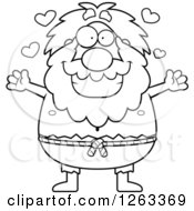 Clipart Of A Black And White Cartoon Loving Chubby Hermit Man Wanting A Hug Royalty Free Vector Illustration