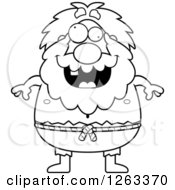 Clipart Of A Black And White Cartoon Crazy Chubby Hermit Man Royalty Free Vector Illustration