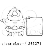 Clipart Of A Black And White Cartoon Happy Cyclops Man With A Stone Tablet Royalty Free Vector Illustration by Cory Thoman