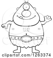Clipart Of A Black And White Cartoon Friendly Waving Cyclops Man Royalty Free Vector Illustration by Cory Thoman