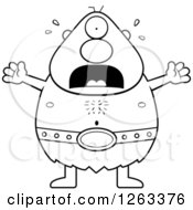 Clipart Of A Black And White Cartoon Scared Screaming Cyclops Man Royalty Free Vector Illustration by Cory Thoman