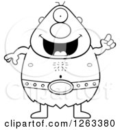 Clipart Of A Black And White Cartoon Happy Cyclops Man With An Idea Royalty Free Vector Illustration by Cory Thoman