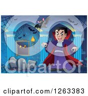 Clipart Of A Dracula Vampire With Bats And Tombstones In A Haunted Hallway Royalty Free Vector Illustration