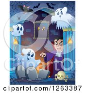 Clipart Of A Dracula Vampire With Bats Ghosts And Tombstones In A Haunted Hallway Royalty Free Vector Illustration