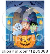 Clipart Of A Ghost Witch And Vampire In A Giant Jackolantern Pumpkin In A Haunted Hallway Royalty Free Vector Illustration by visekart