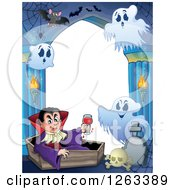 Clipart Of A Border Of A Dracula Vampire Holding A Glass Of Blood And Sitting In A Coffin With Ghosts And Bats In A Haunted Hallway Royalty Free Vector Illustration