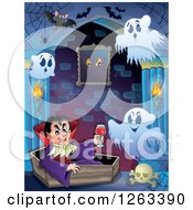 Clipart Of A Dracula Vampire Holding A Glass Of Blood And Sitting In A Coffin With Ghosts And Bats In A Haunted Hallway Royalty Free Vector Illustration